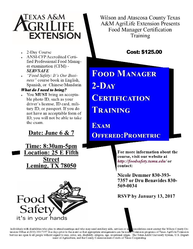 Food Manager Certification Training